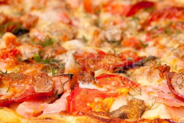 ピザ 写真 クローズアップ チーズ ハム ストックフォト © Discovod