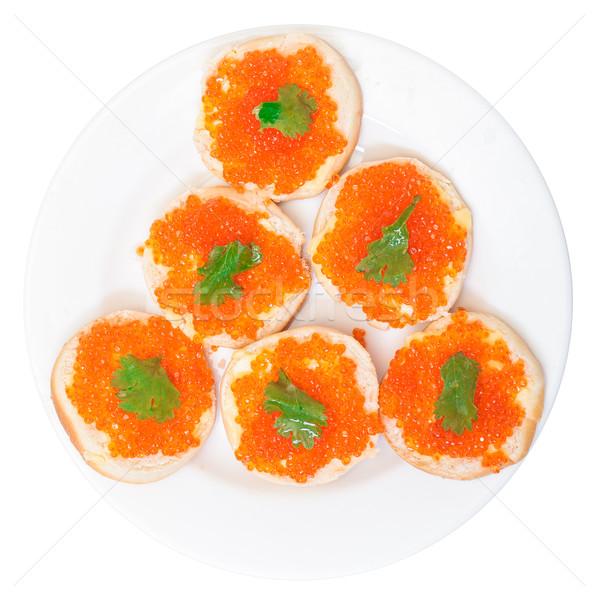 Sandwiches Rood gezouten kaviaar witte vis Stockfoto © Discovod
