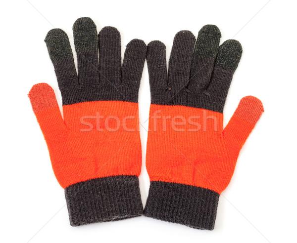 Gebreid handschoenen witte winter Rood zwarte Stockfoto © Discovod