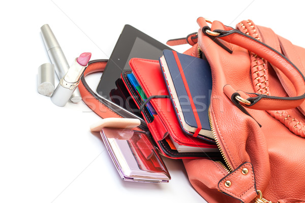 Pink Leather Ladies Handbag with Tablet PC Stock photo © Discovod