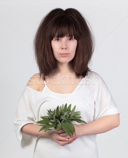 Młodych piękna kobieta świeże szałwia zdrowa żywność żywności Zdjęcia stock © Discovod