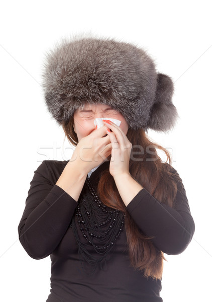 Woman with a winter cold and flu Stock photo © Discovod