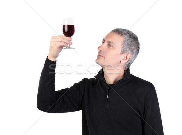 Adam cam kırmızı liman şarap Stok fotoğraf © Discovod