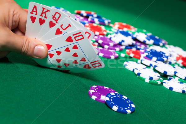 Colorful poker chips and royal flush Stock photo © Discovod