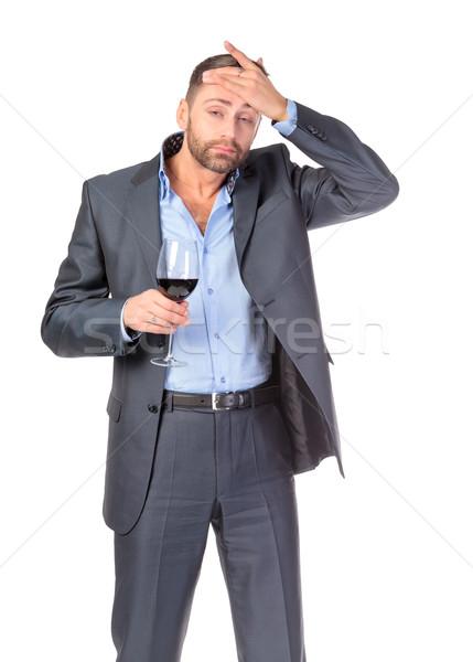 肖像 ビジネスマン ガラス ワイン 白 ストックフォト © Discovod