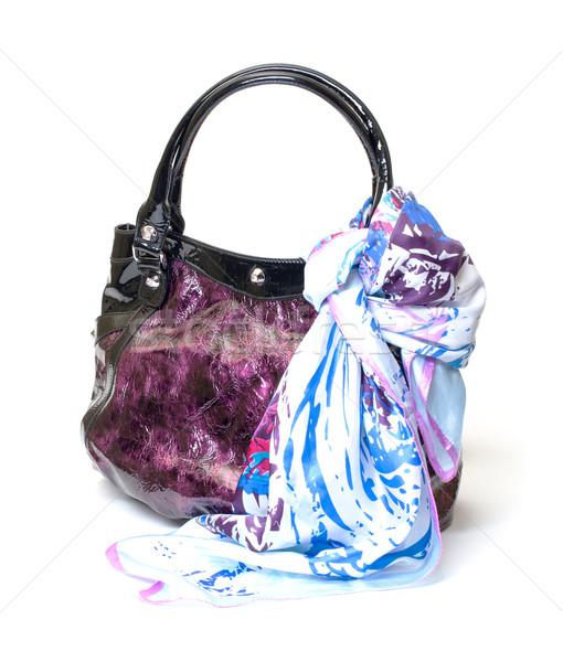 Trillend leder dames handtas zakdoek witte Stockfoto © Discovod