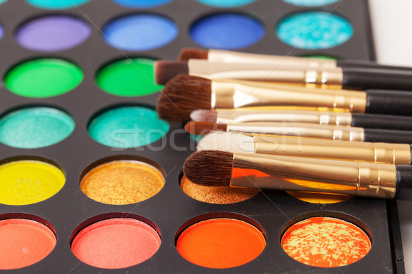 Set of Multicolored Eyeshadows with Brushes Stock photo © Discovod