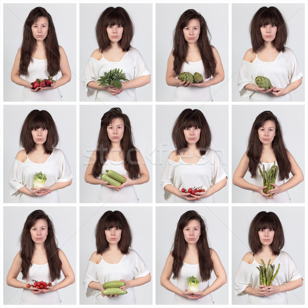 Collage young beautiful woman with the fresh vegetables Stock photo © Discovod