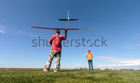 Man launches into the sky RC glider Stock photo © Discovod