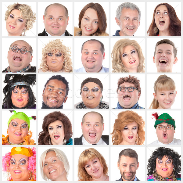 Collage of many different happy human faces Stock photo © Discovod