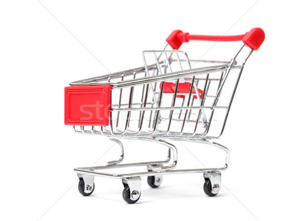 Carrinho de compras isolado branco negócio fundo metal Foto stock © Discovod