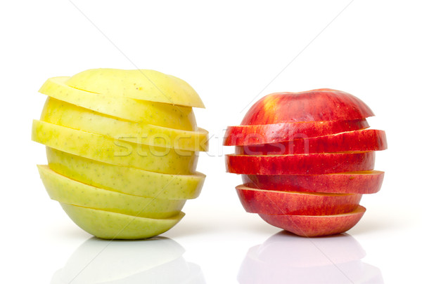 Stock photo: Red and Yellow Sliced Apple