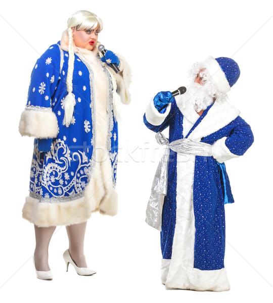 Travesty Actors Genre Depict Santa Claus and Snow Maiden Stock photo © Discovod