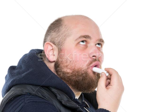 łysy brodaty grubas szminki biały Zdjęcia stock © Discovod