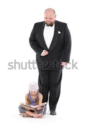 Kislány szolgáló csokornyakkendő fehér könyv apa Stock fotó © Discovod