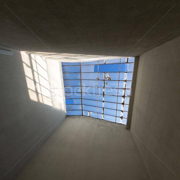 Stockfoto: Gebroken · glas · oude · huis · hemel · gebouw · bouw · home