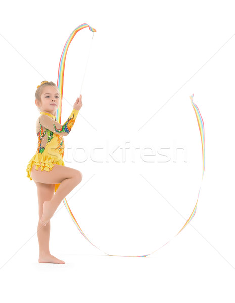 Little Gymnast Practicing with a Ribbon Stock photo © Discovod