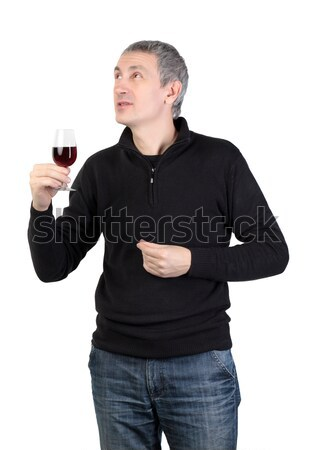Man holding a glass of red port wine Stock photo © Discovod
