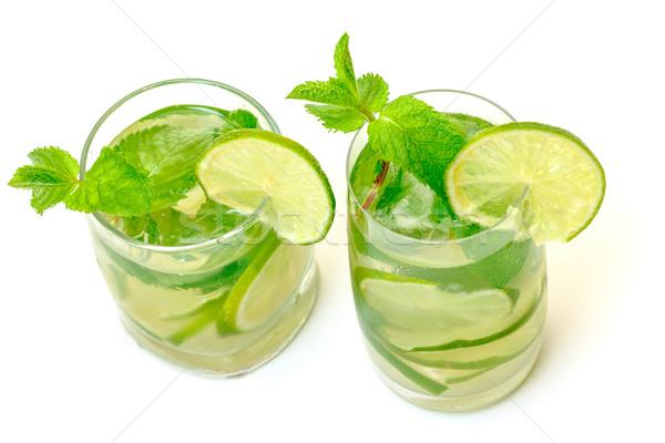 Mojito koktél üveg főzőpohár fehér buli Stock fotó © Discovod
