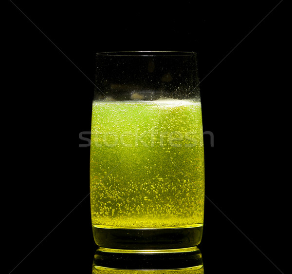 Aszpirin tabletta üveg víz fekete gyógyszer Stock fotó © Discovod