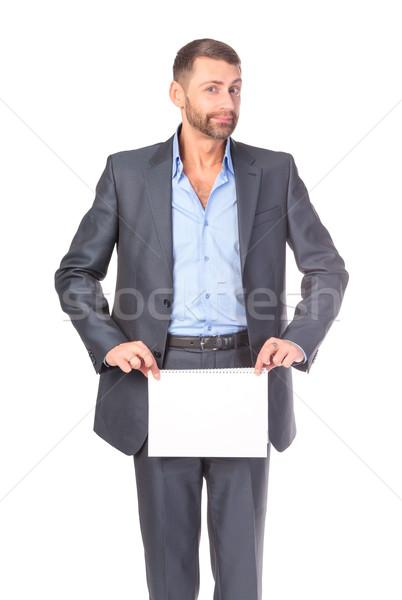 Retrato empresário vazio conselho escrever Foto stock © Discovod