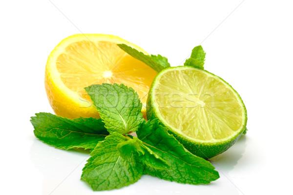 Fresco limão cal de isolado branco Foto stock © Discovod