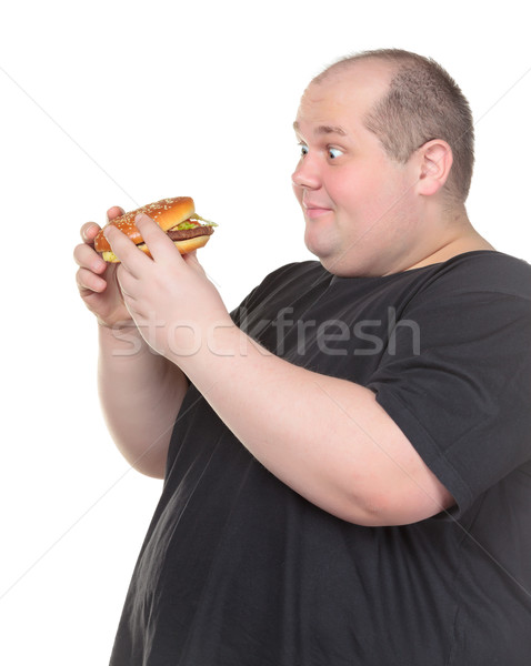 Fat Man Looks Lustfully at a Burger Stock photo © Discovod