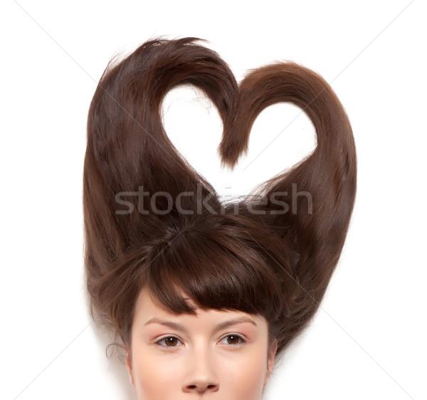 Modèle cheveux femme cheveux longs forme coeur Photo stock © Discovod