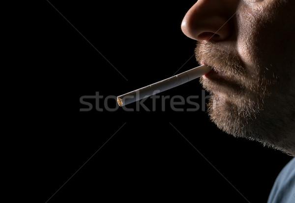 портрет человека курение сигарету черный Сток-фото © Discovod