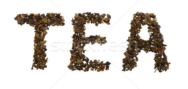 Thee bladeren opschrift woord witte Stockfoto © Discovod