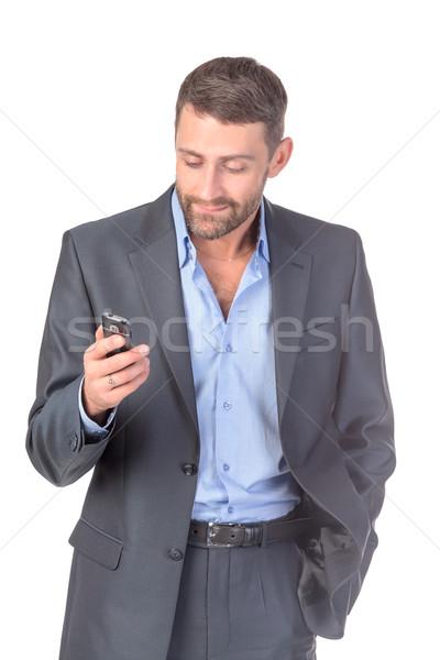 Retrato empresário telefone móvel branco negócio telefone Foto stock © Discovod