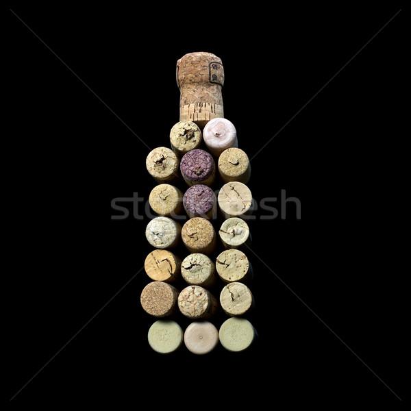 Vinho fora forma garrafa uva Foto stock © Discovod