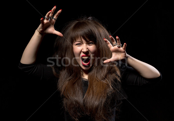 Woman throwing a temper tantrum Stock photo © Discovod
