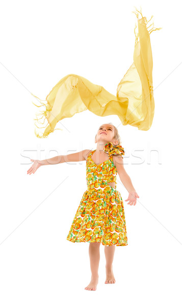 Little Girl in a Yellow Dress throws up Shawl Stock photo © Discovod