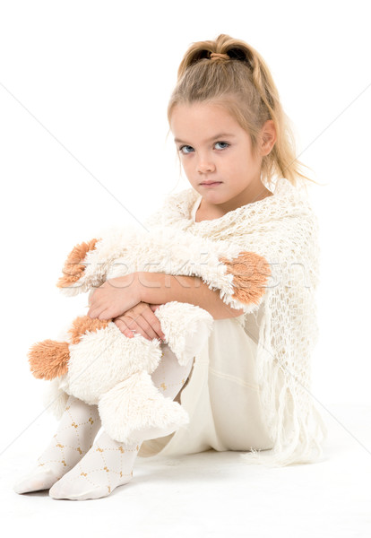 Little Girl in a White Dress Posing Stock photo © Discovod