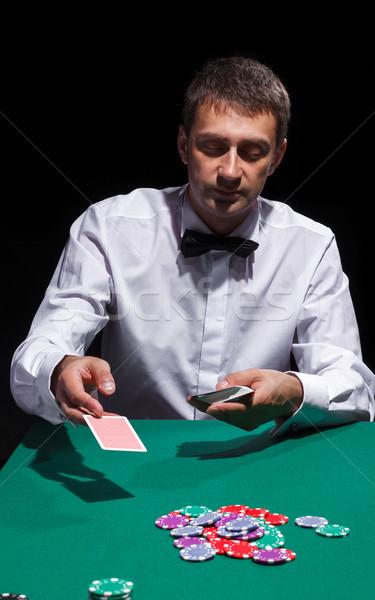 джентльмен белый рубашку игральных карт черный моде Сток-фото © Discovod