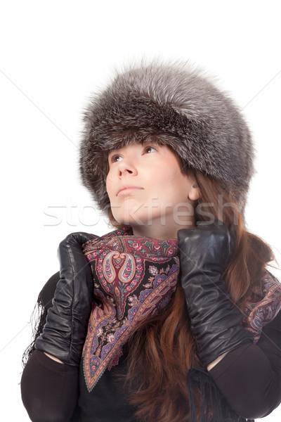 エレガントな 女性 冬 ファッショナブル 着用 スカーフ ストックフォト © Discovod