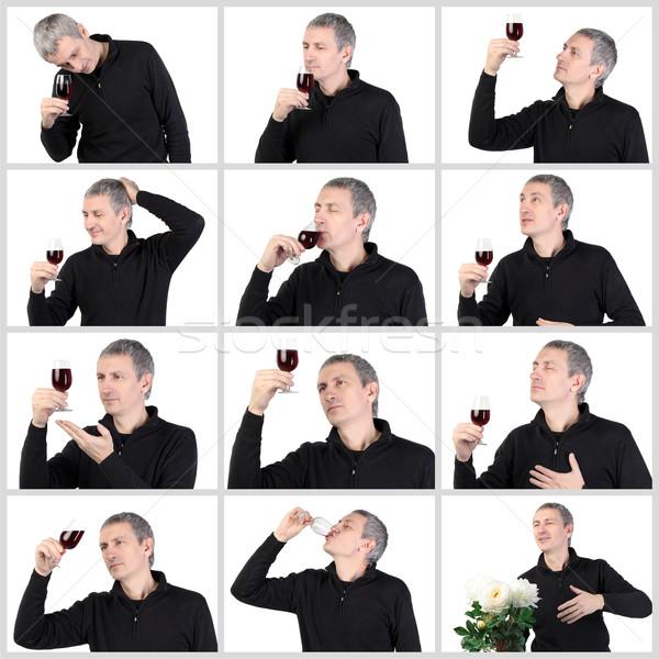 Colagem homem degustação vidro vermelho porta Foto stock © Discovod