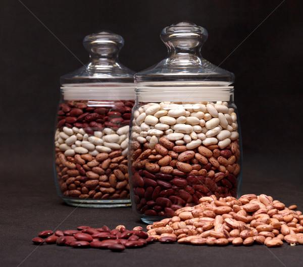 Veelkleurig nier bonen zwarte voedsel glas Stockfoto © Discovod