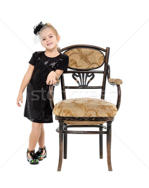 女の子 立って アンティーク 椅子 白 少女 ストックフォト © Discovod