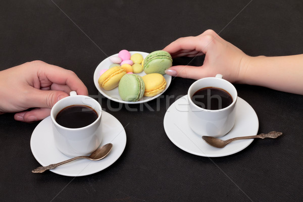 Couple drinking coffee with macaroon Stock photo © Discovod