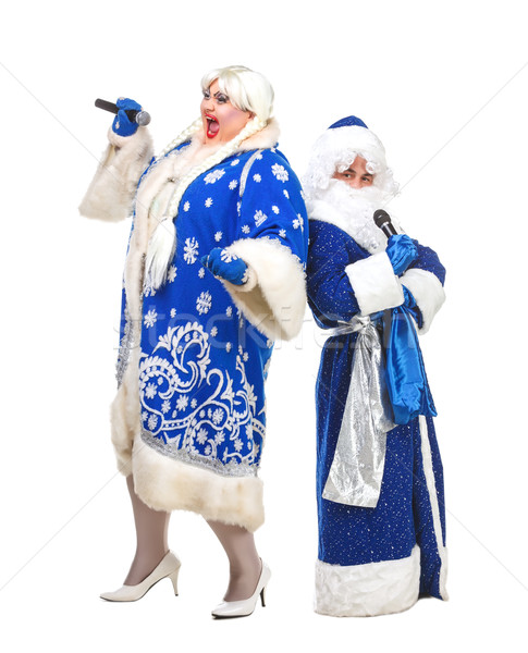 Papai noel neve branco fundo microfone Foto stock © Discovod