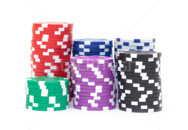 Stacks of Multicolored Poker Chips Stock photo © Discovod