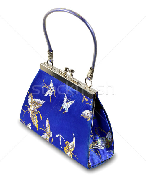 Décoratif sac à main isolé mode fond bleu Photo stock © Discovod