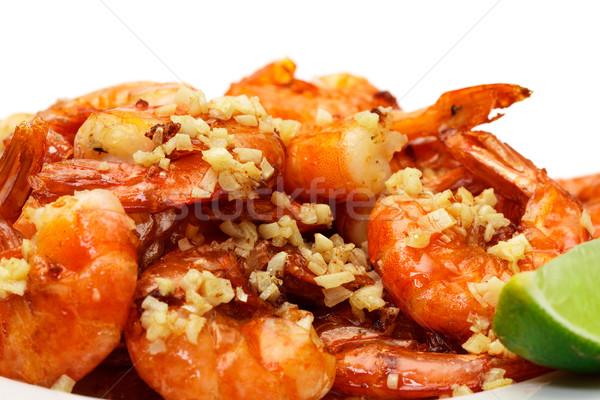 Sült király garnélák felszolgált tányér közelkép Stock fotó © Discovod
