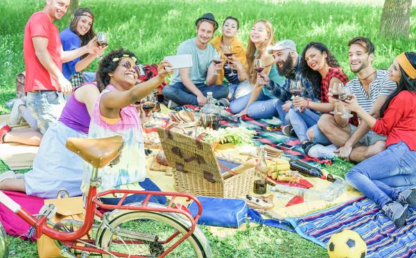 Happy diverse culture friends taking selfie portrait at picnic p Stock photo © DisobeyArt