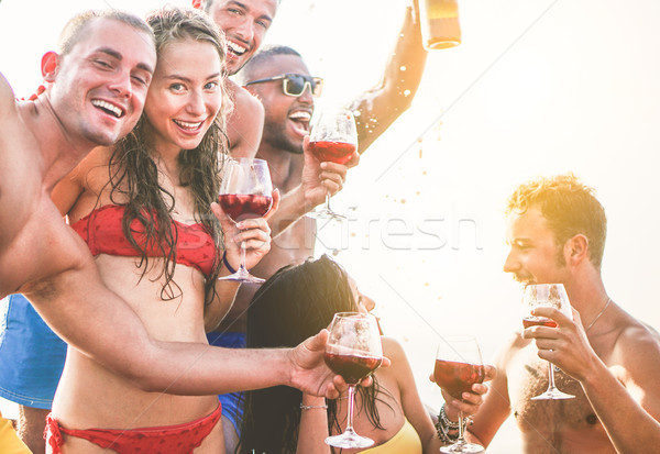Happy friends making boat party outdoor with sangria and champag Stock photo © DisobeyArt