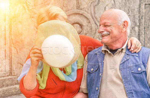 жена лице солнце ретро Сток-фото © DisobeyArt