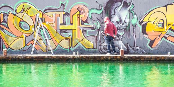 Tetoválás graffiti tél befejezés festék városi Stock fotó © DisobeyArt
