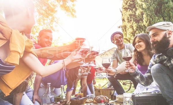 Stock fotó: Boldog · barátok · éljenez · borospoharak · piknik · szabadtér
